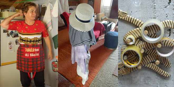 Uvek vesela domaćica, konstrukcija sa šeširom i još jedan aranžman na otvorenom